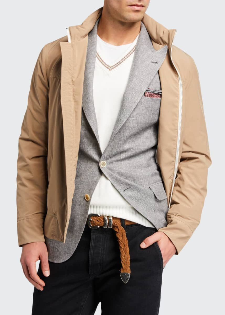 Brunello Cucinelli Men's Hidden-Hood Technical Bomber Jacket