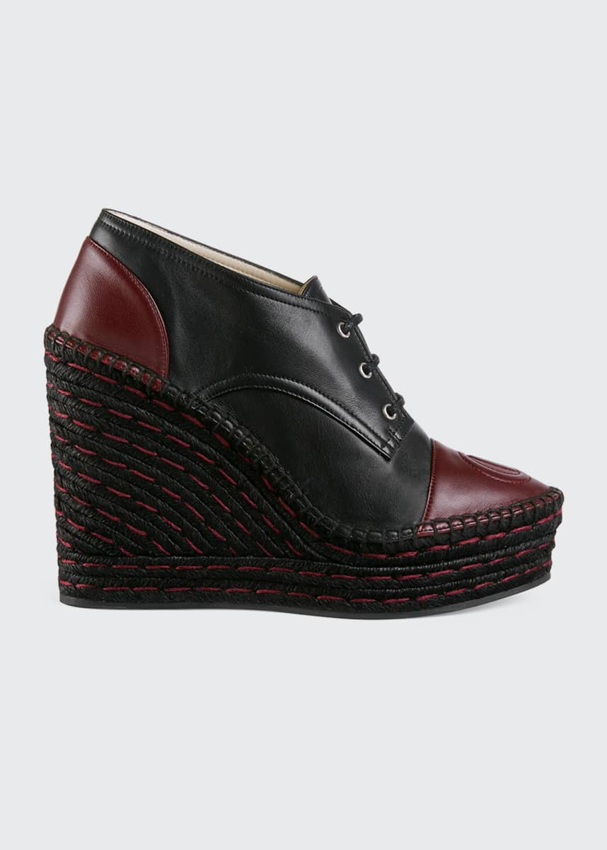 Gucci Pilar Leather Lace-Up Wedge Platform Espadrilles