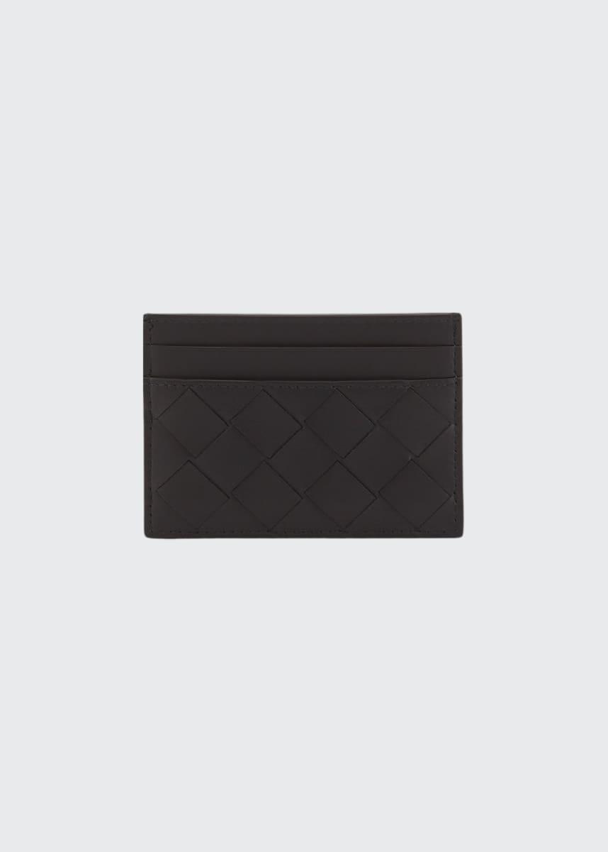 Bottega Veneta Men's Portacard Woven Leather Card Case