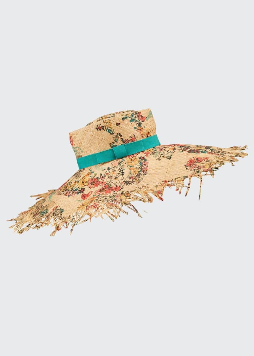 Raffaello Bettini Small Flowers Print Large Brim Straw Hat
