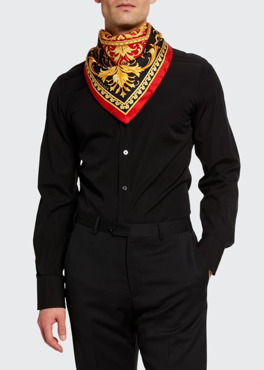 Versace Men's Baroque Silk Square Scarf