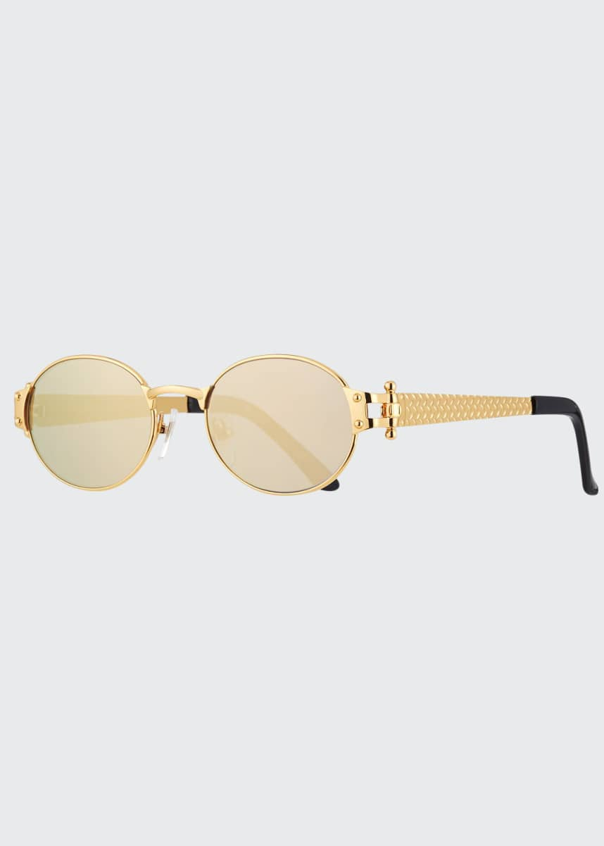 Vintage Frames Company Men's 2000 Masterpiece Gold-Plated Oval Sunglasses