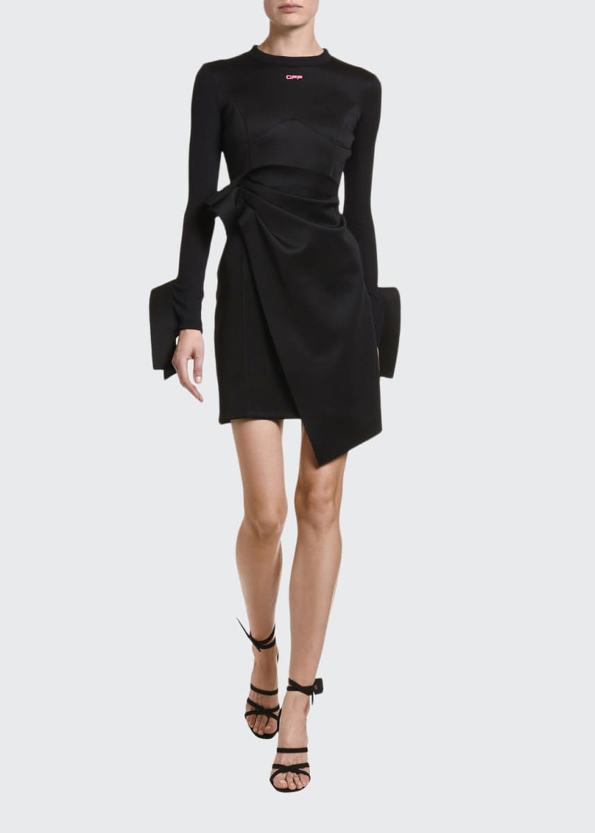 Off-White Jersey Crewneck Wrap Dress