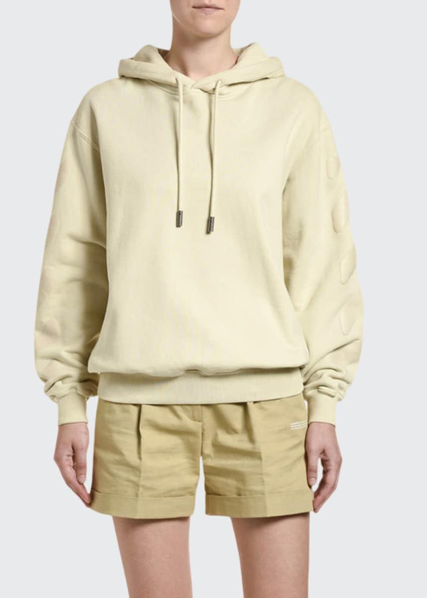 Off-White Striped-Sleeve Hooded Sweatshirt