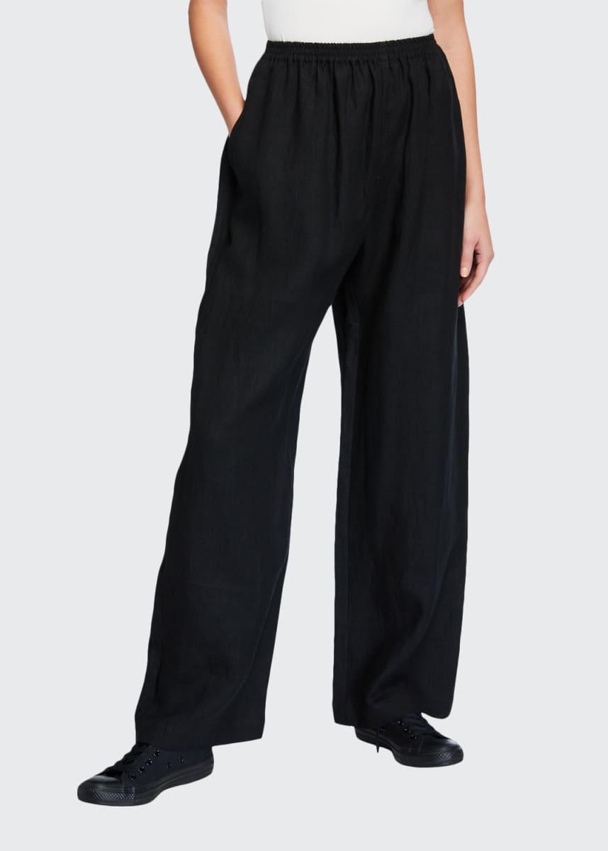 Eskandar Linen Full-Leg Trousers