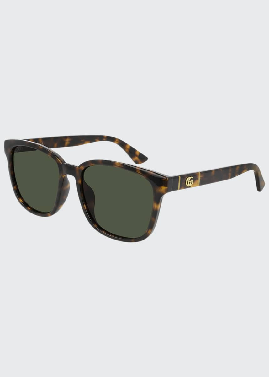 Gucci Men's Square Havana Acetate Sunglasses