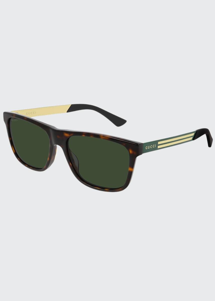 Gucci Men's Square Havana Logo Sunglasses