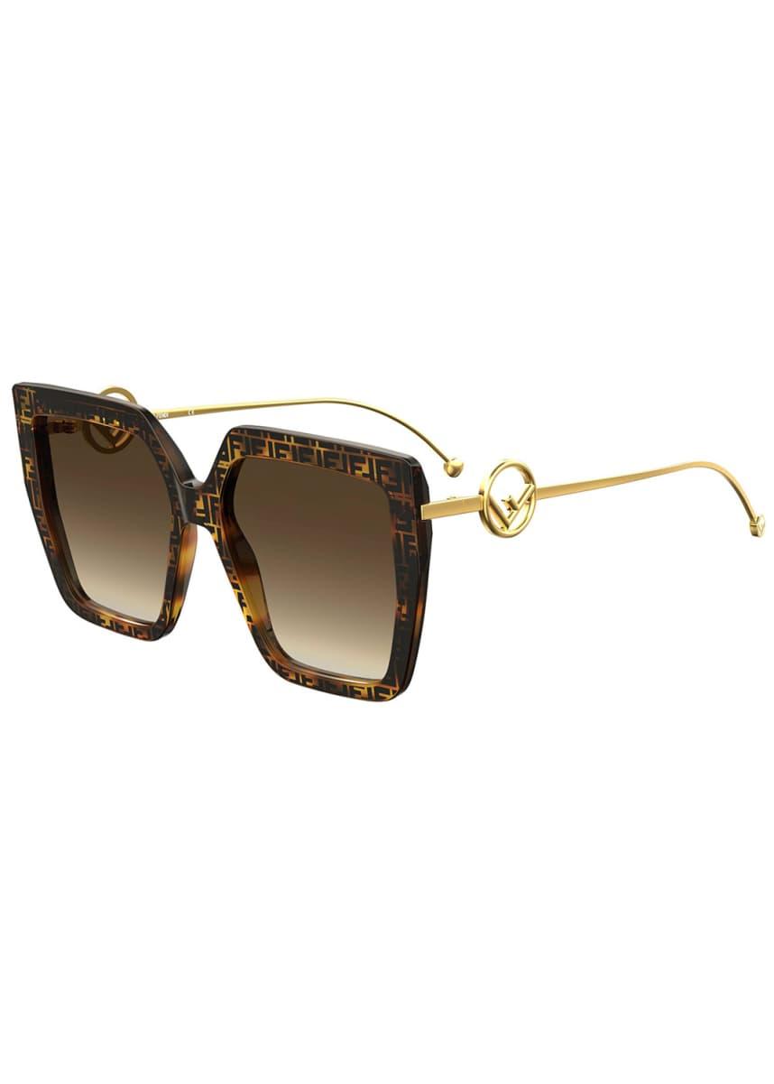 Fendi Square FF Pattern Acetate Sunglasses