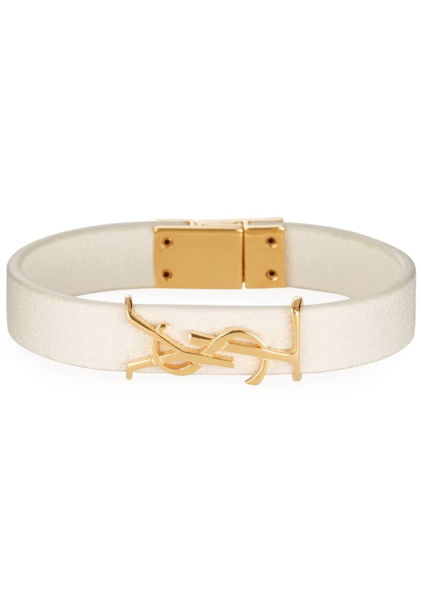 Saint Laurent Simple Tour Leather YSL Monogram Bracelet, Size Medium