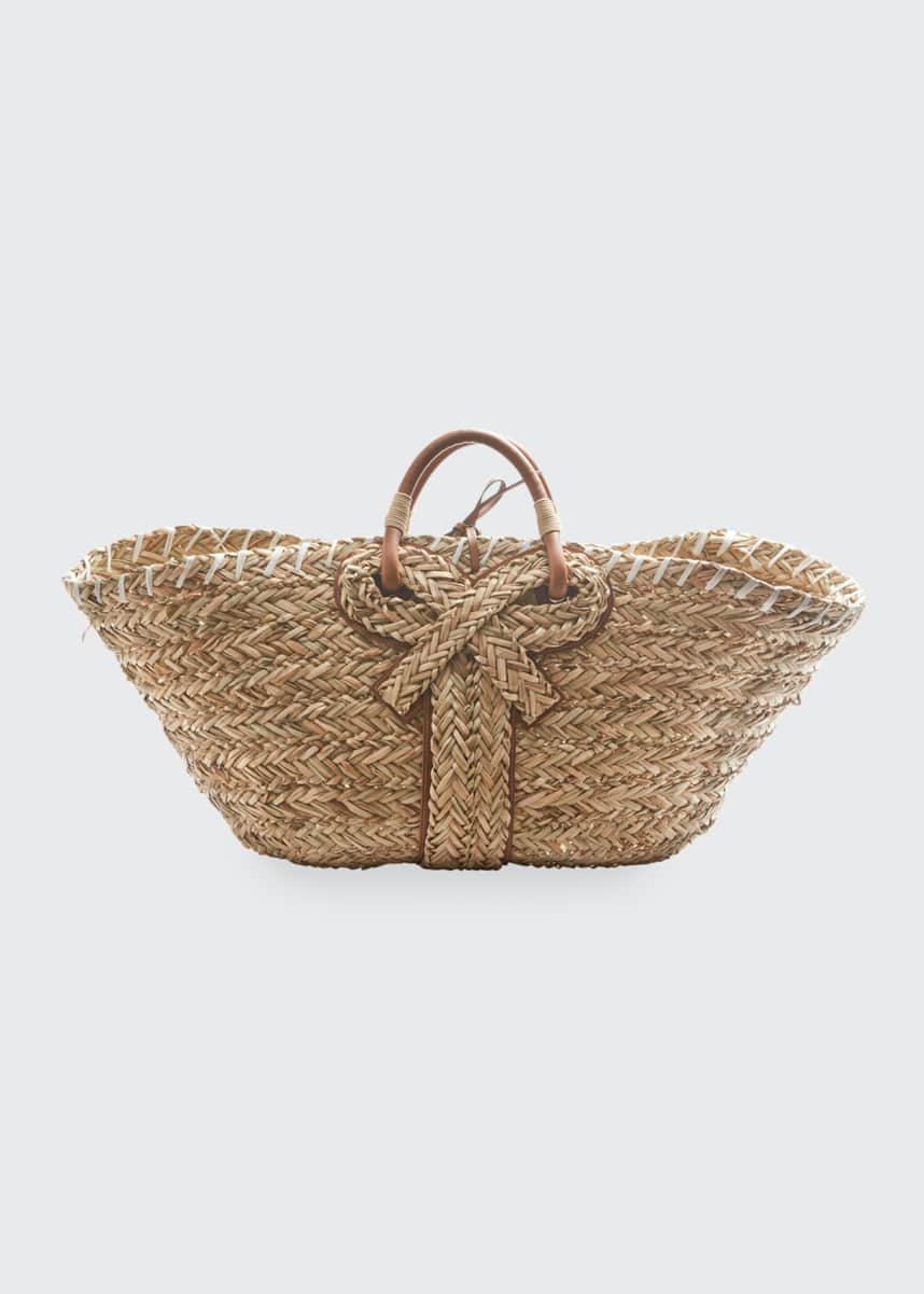 Anya Hindmarch Large Basket Bow Tote Bag in Natural Seagrass