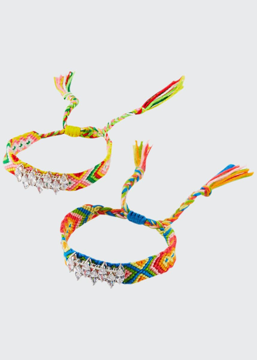 Fallon Pull-Cord Friendship Bracelets, Set of 2, Rainbow