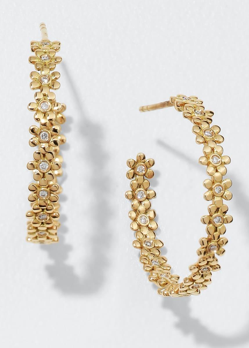Sydney Evan 14k Yellow Gold Large Diamond Daisy Hoop Earrings