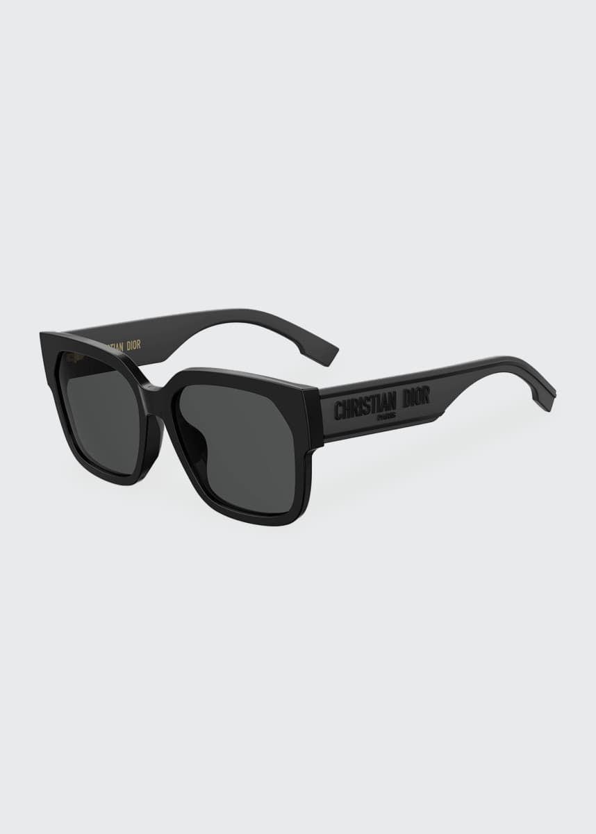 Dior DiorID1 Square Acetate Sunglasses w/ Tonal Logo Arms