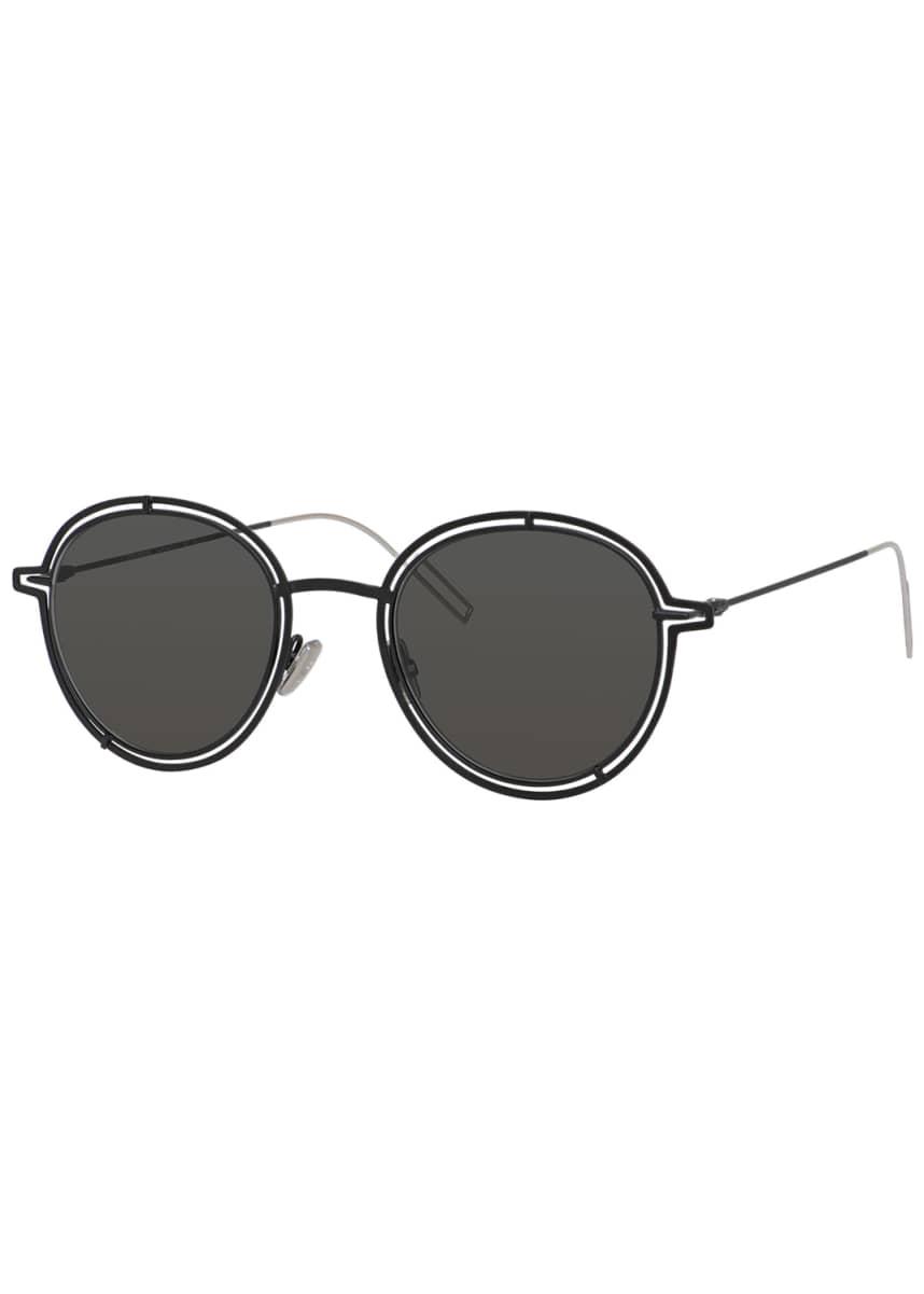 Dior Men's Round Metal Cutout Sunglasses