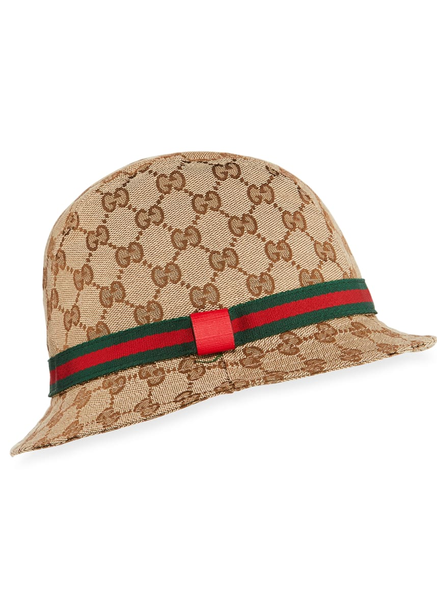 Gucci Kids' GG Supreme Canvas Bucket Hat w/ Web Hat Band
