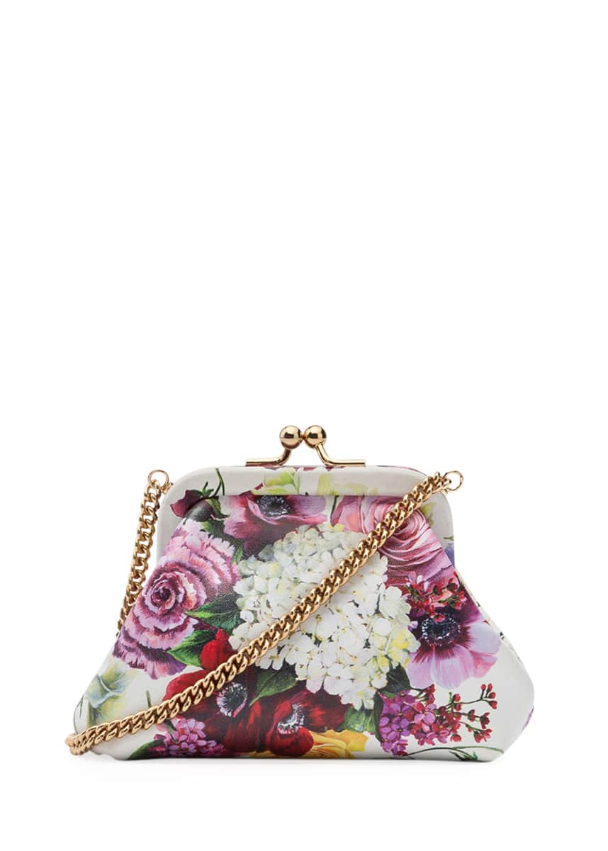 Dolce & Gabbana Kids' Floral Calf Leather Shoulder Bag