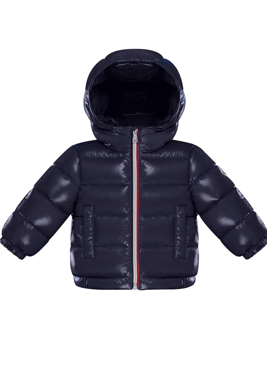 Moncler New Aubert Quilted Shiny Nylon Hooded Puffer Jacket, Size 12M-3