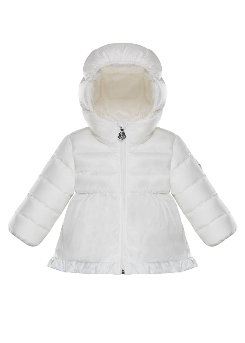 Moncler Odile Semi-Quilted Ruffle Hem Puffer Jacket, Size 12M-3