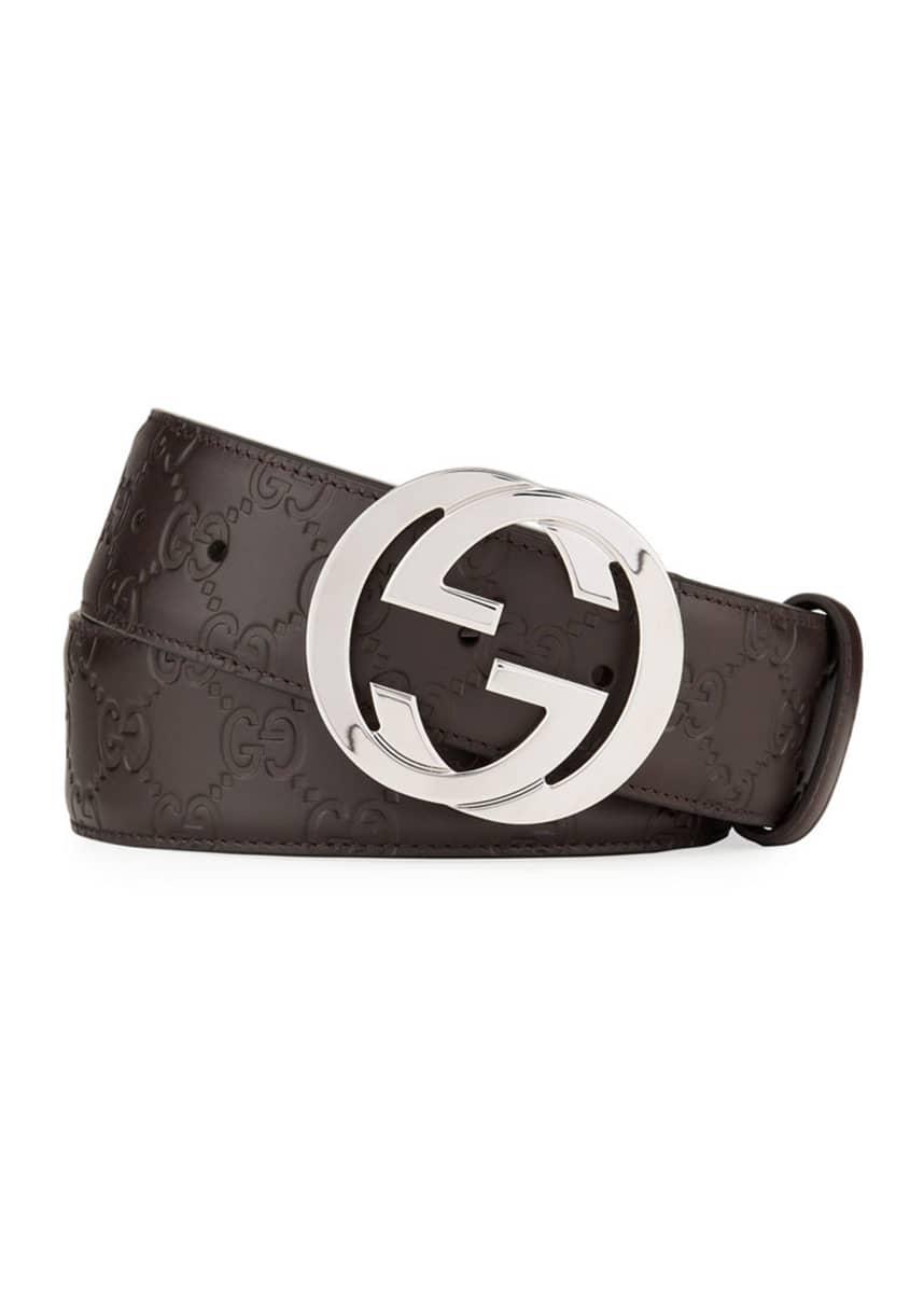 Gucci Interlocking G-Buckle Leather Belt