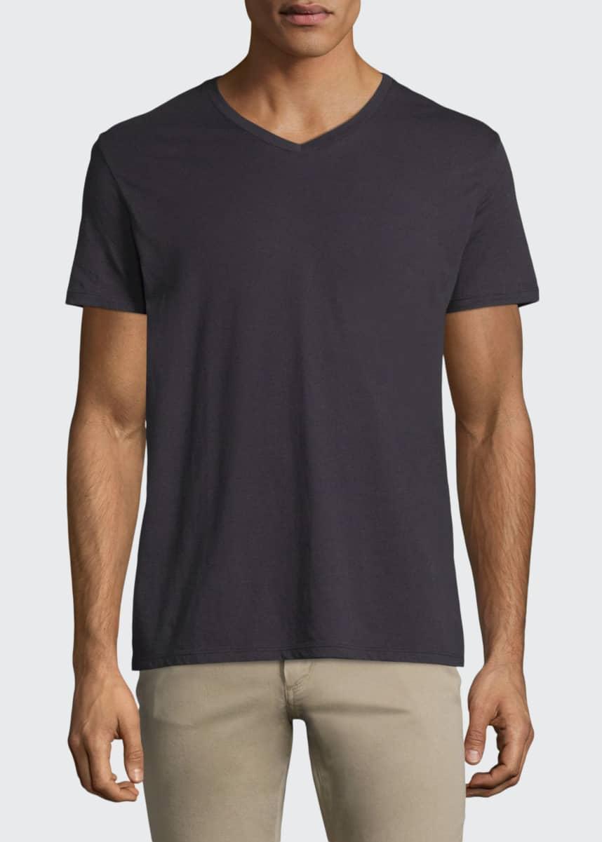 Vince Short-Sleeve V-Neck Jersey T-Shirt, Gray