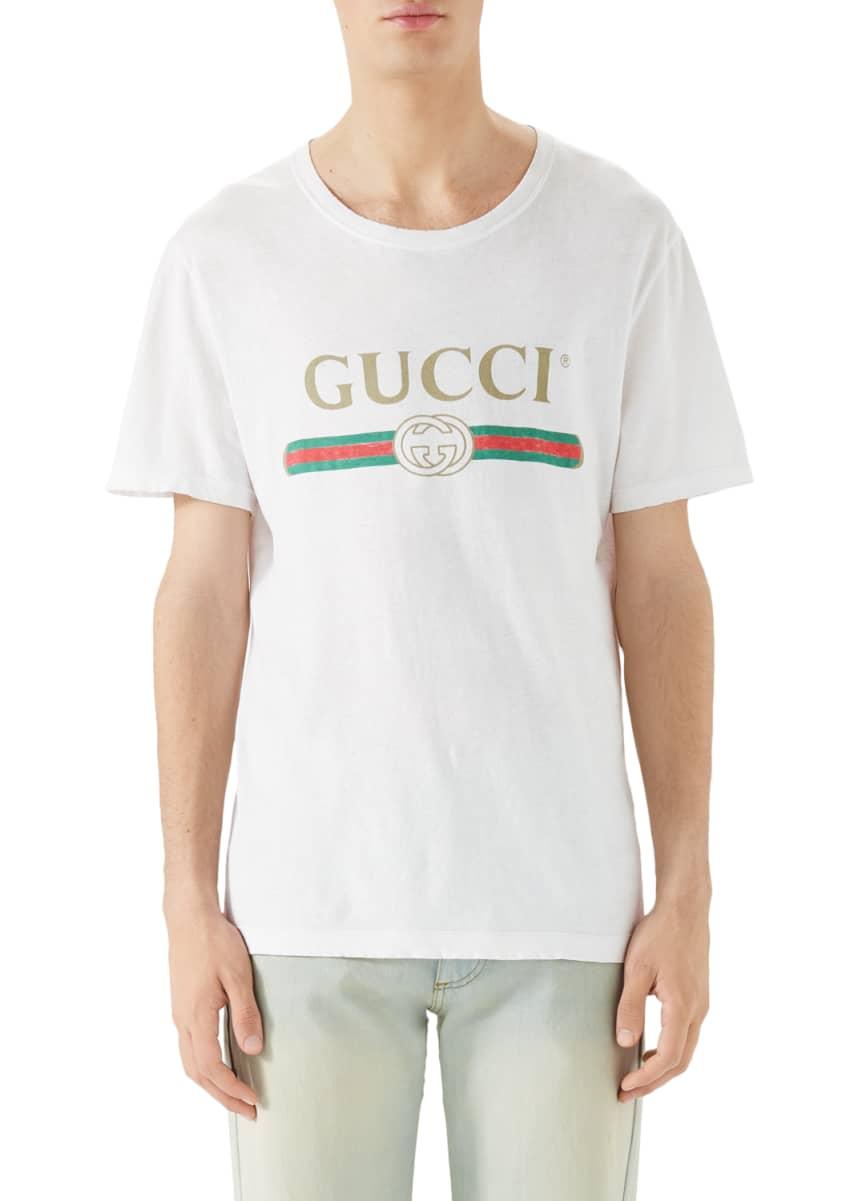 Gucci Washed T-Shirt w/GG Print, White