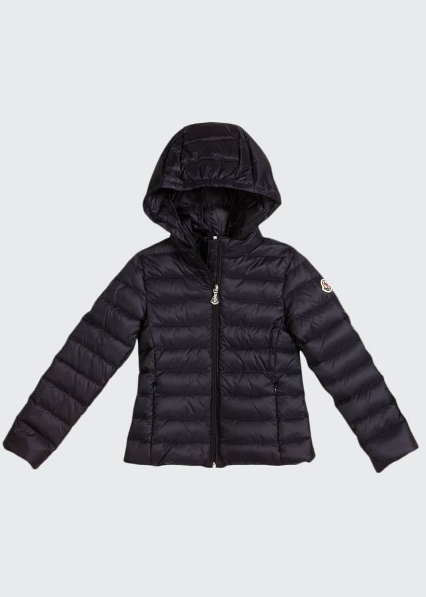 Moncler Iraida Hooded Lightweight Down Puffer Jacket, Size 4-6