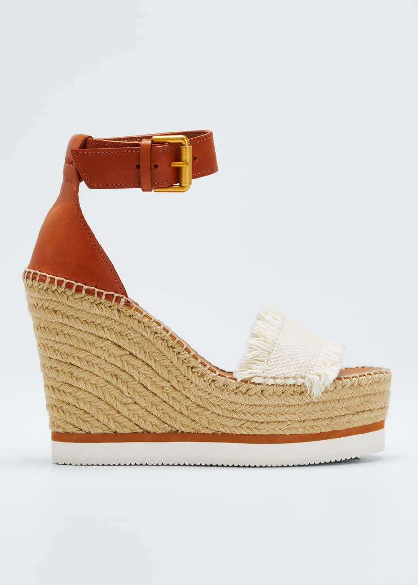See by Chloe Glyn Canvas & Leather Espadrille Sandal, Cream/Tan