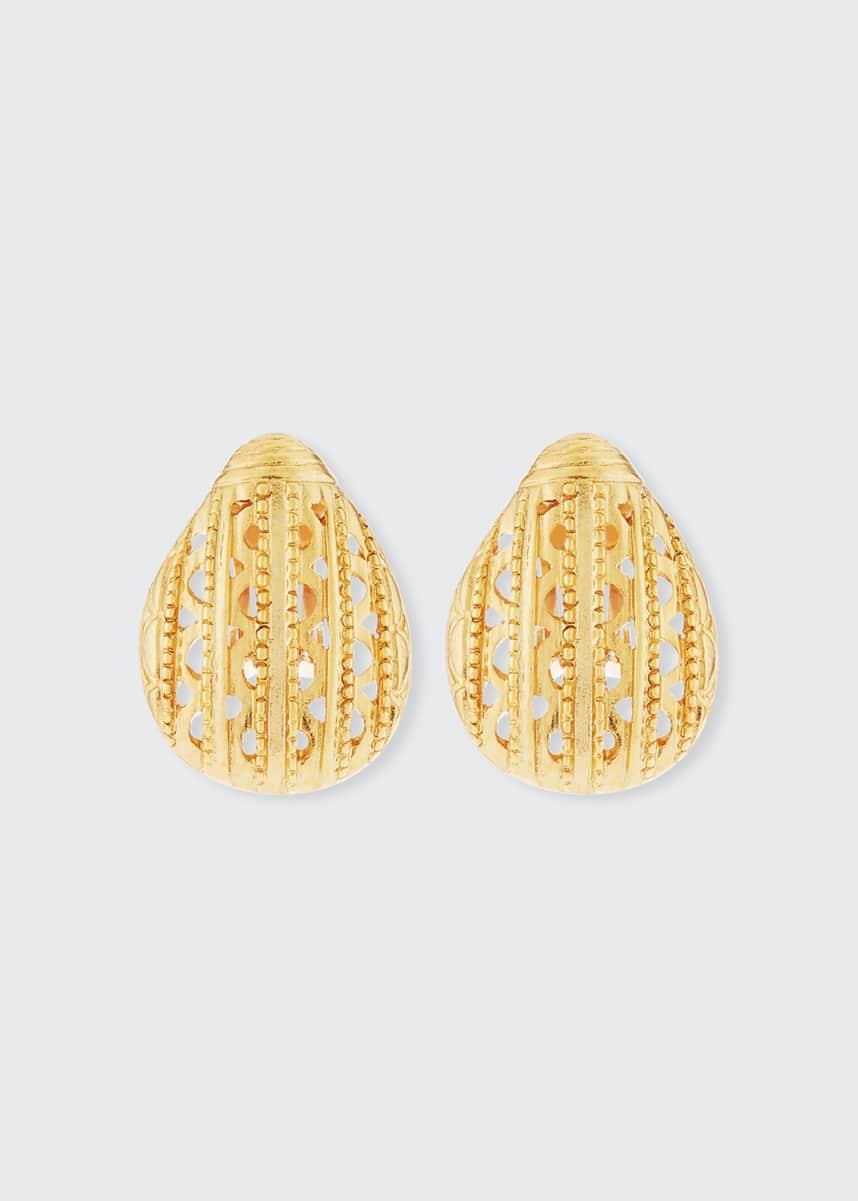 Oscar de la Renta Scarab Button Clip-On Earrings