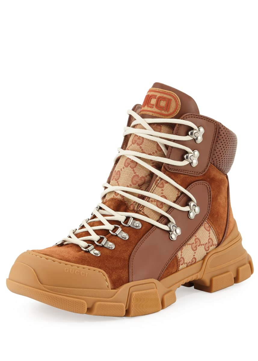 Gucci Leather and Original GG Trekking Boot