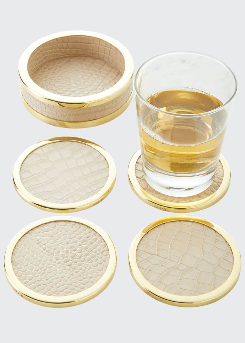 AERIN Colette Croc-Embossed Leather Coasters, Set of 4