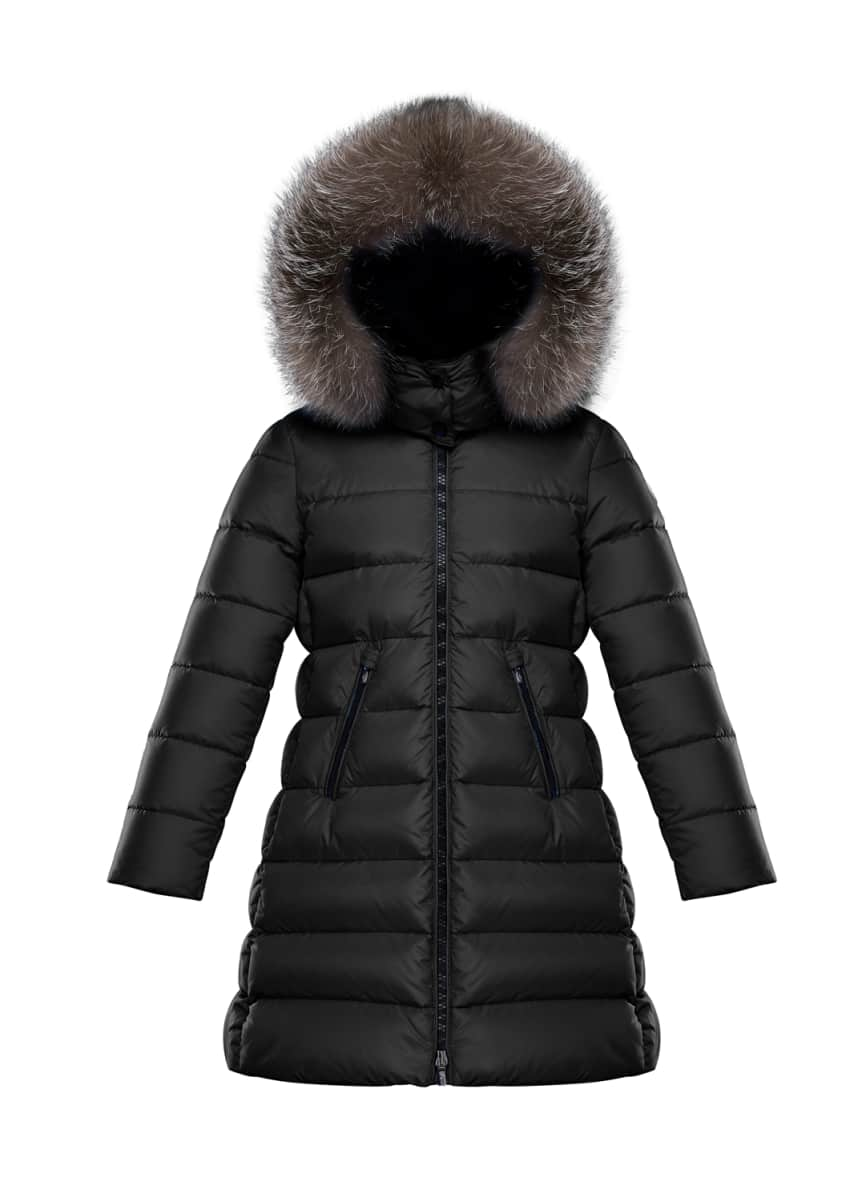 Moncler Abelle Quilted Puffer Coat w/ Fur Trim, Size 4-6