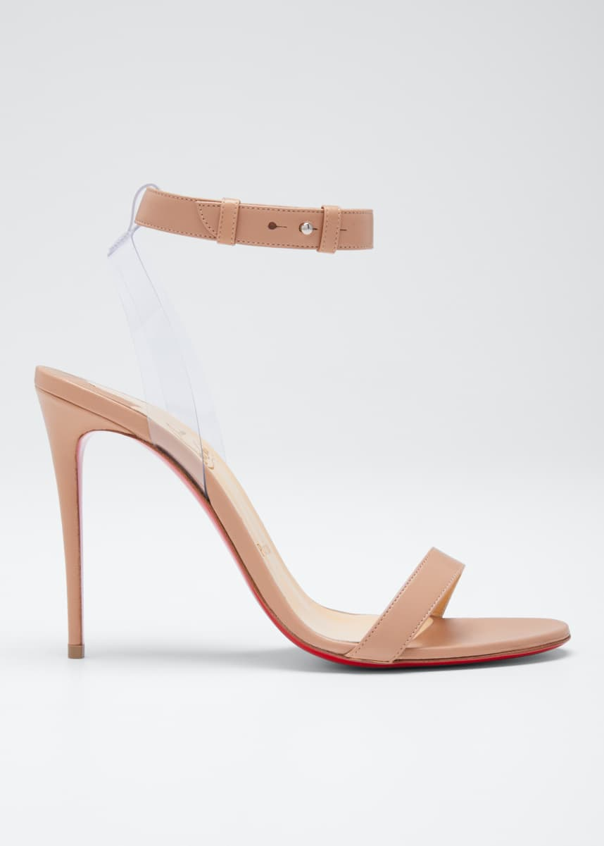 Christian Louboutin Jonatina Illusion Ankle-Strap Red Sole Sandals