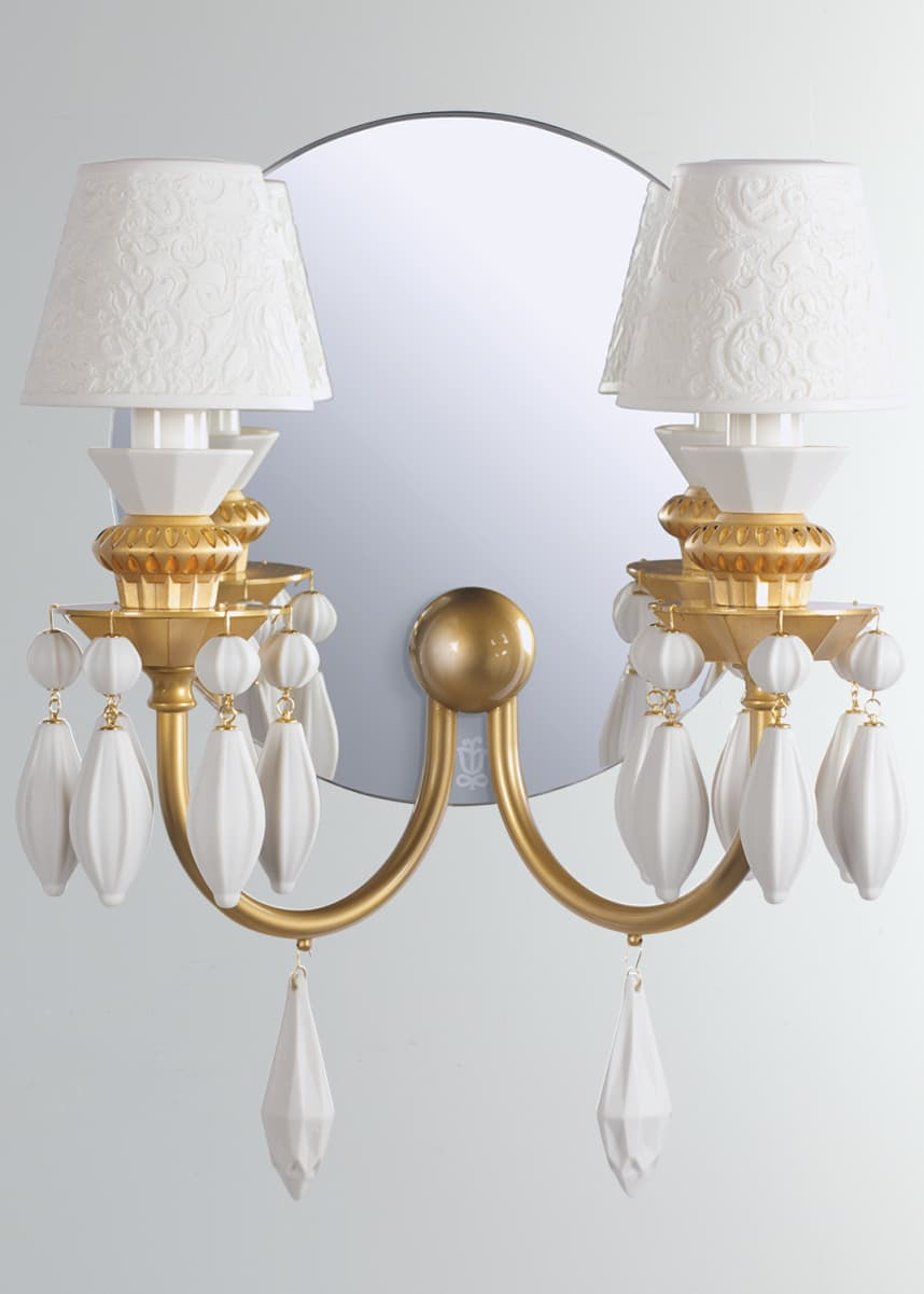 Lladro Belle de Nuit 2-Light Wall Sconce, Gold
