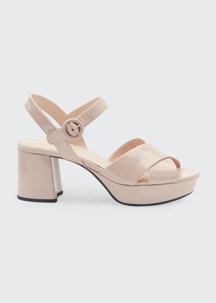 Prada Patent Leather Platform Ankle-Wrap 65mm Sandals