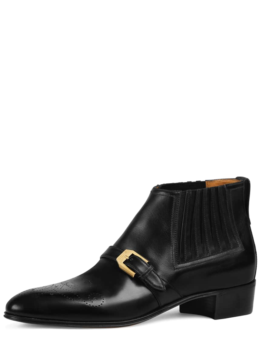Gucci Men's Worsh Leather Ankle Boots