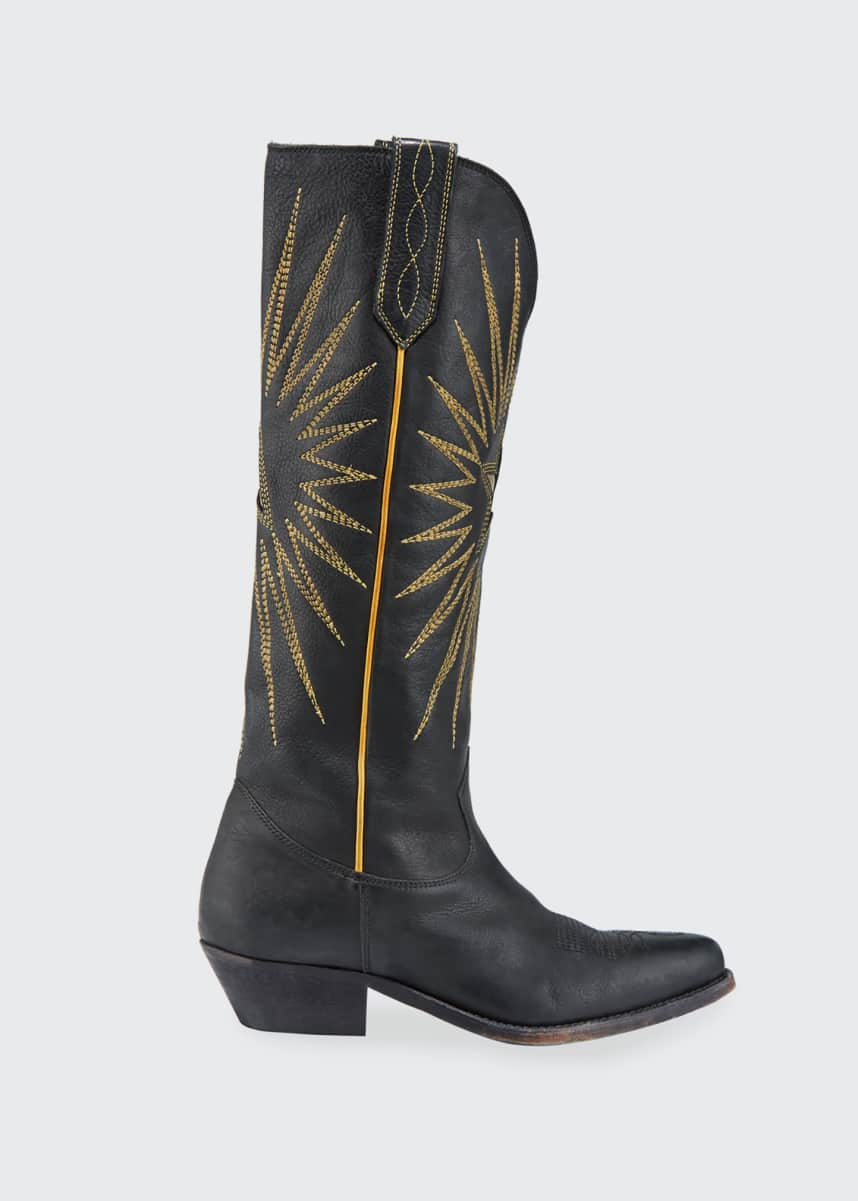 Golden Goose Wish Star Stitched Knee Boots