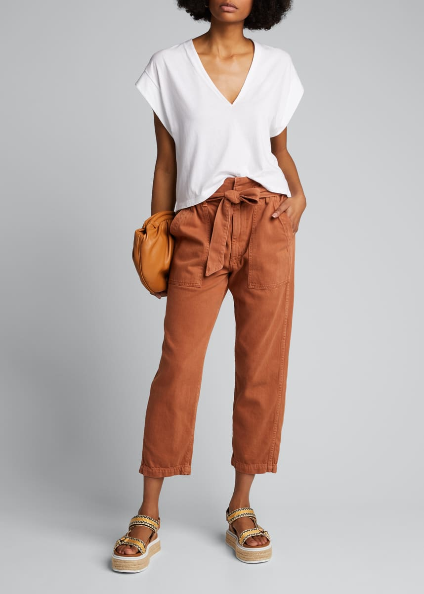 AMO Denim Straight-Leg Belted Paperbag Pants