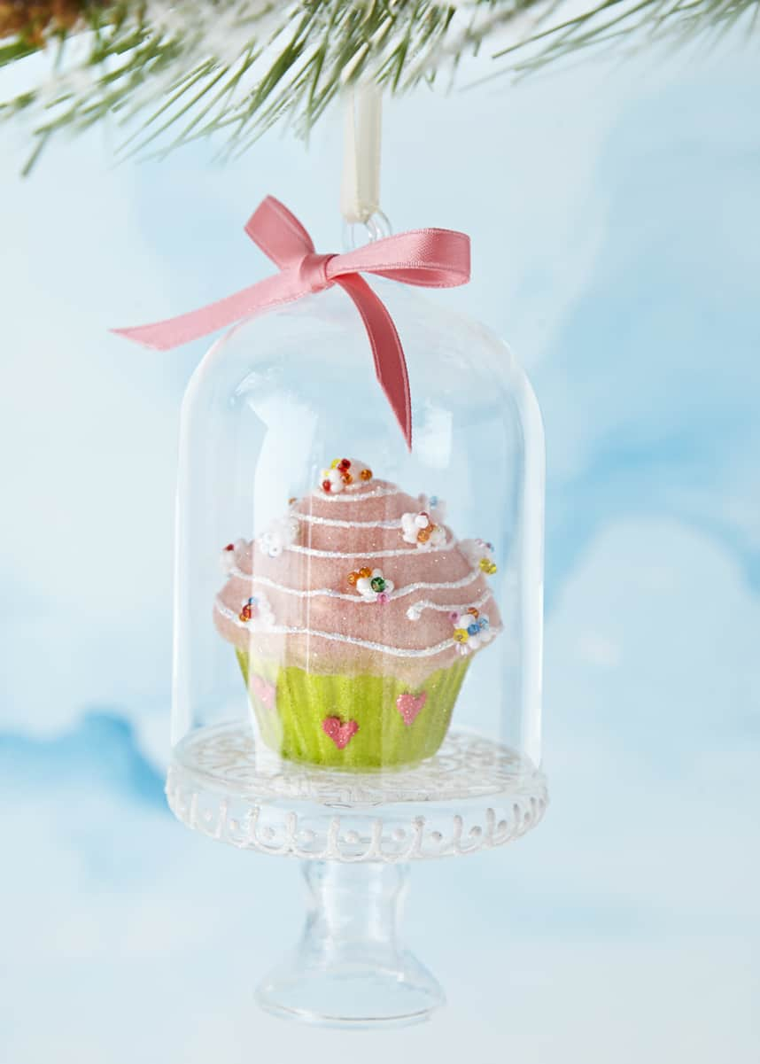 Pink and Green Cupcake in Dome Ornament