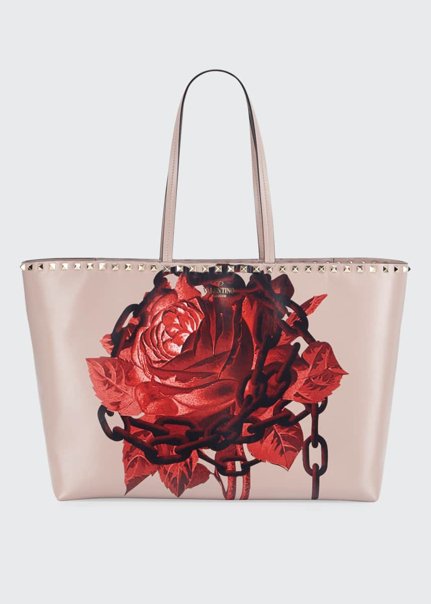 Valentino Garavani Rockstud Undercover Print Leather Tote Bag
