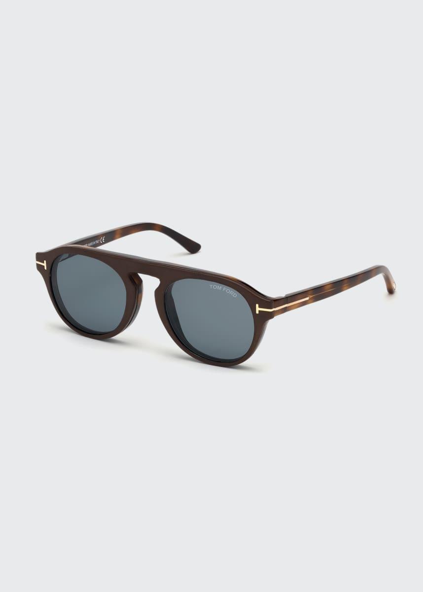 TOM FORD Men's Oval Blue Block Optical Glasses w/ Magnetic Clip-On Sun Lenses
