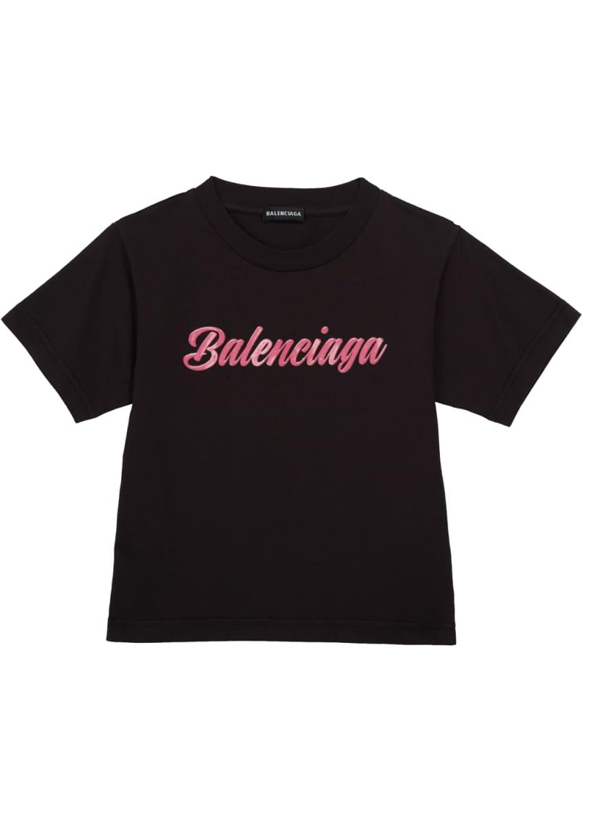 Balenciaga Kid's Script Logo Short-Sleeve T-Shirt, Size 2-10