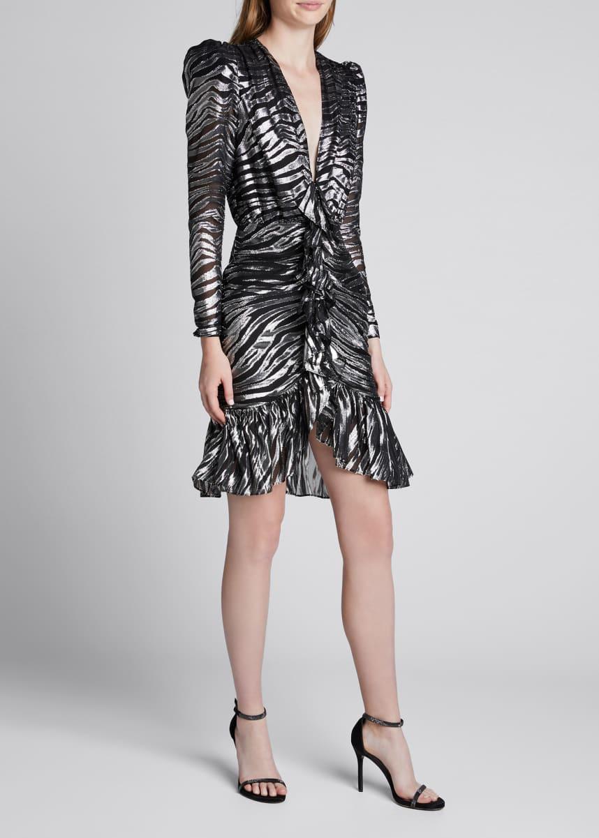 Dundas V-Neck Zebra Lame Dress