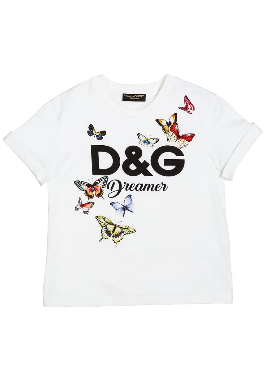 Dolce & Gabbana D&G Dreamer Butterfly Graphic Tee, Size 8-12