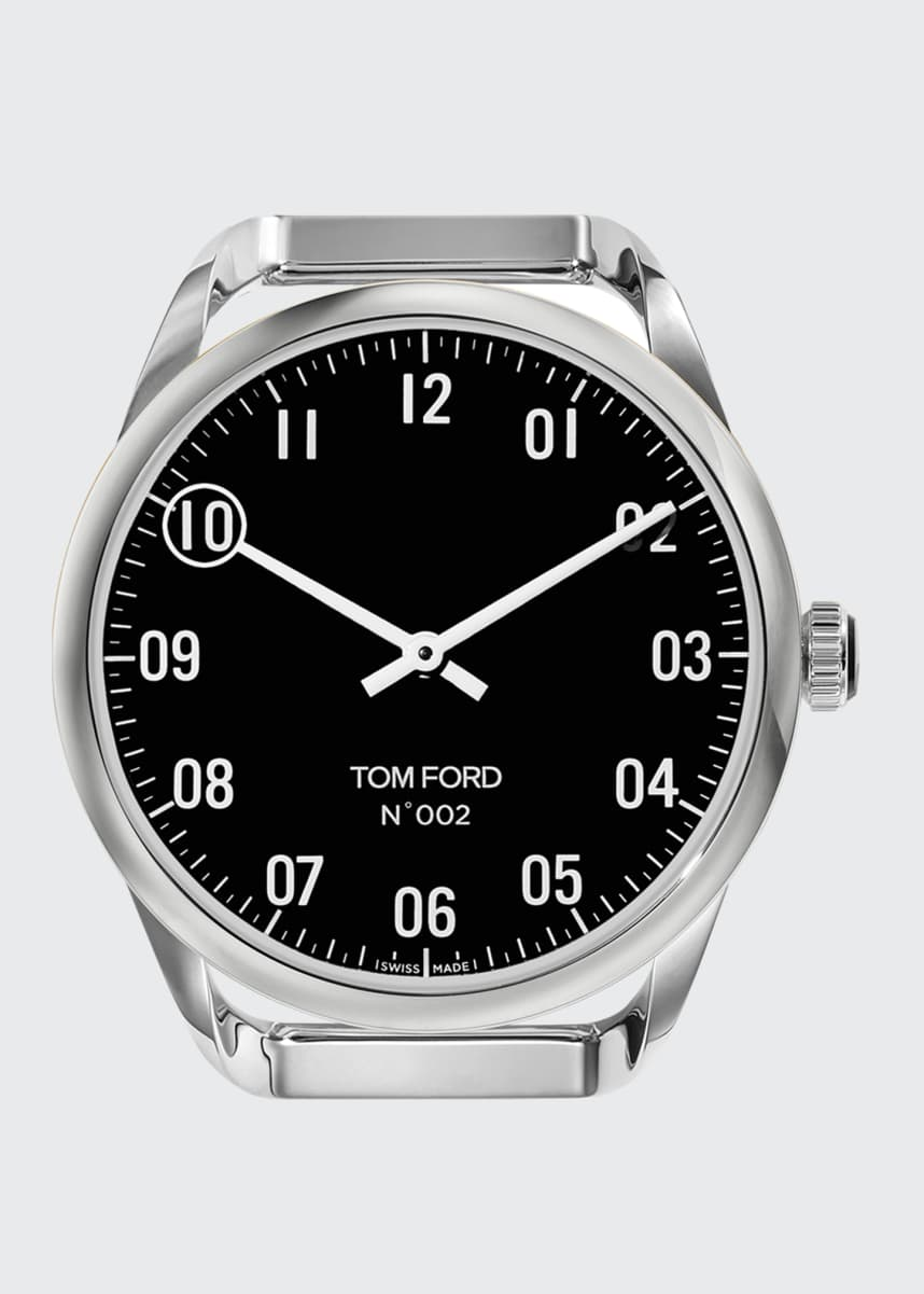 TOM FORD TIMEPIECES Men's Round Polished Stainless Steel Case, Black Dial, Large