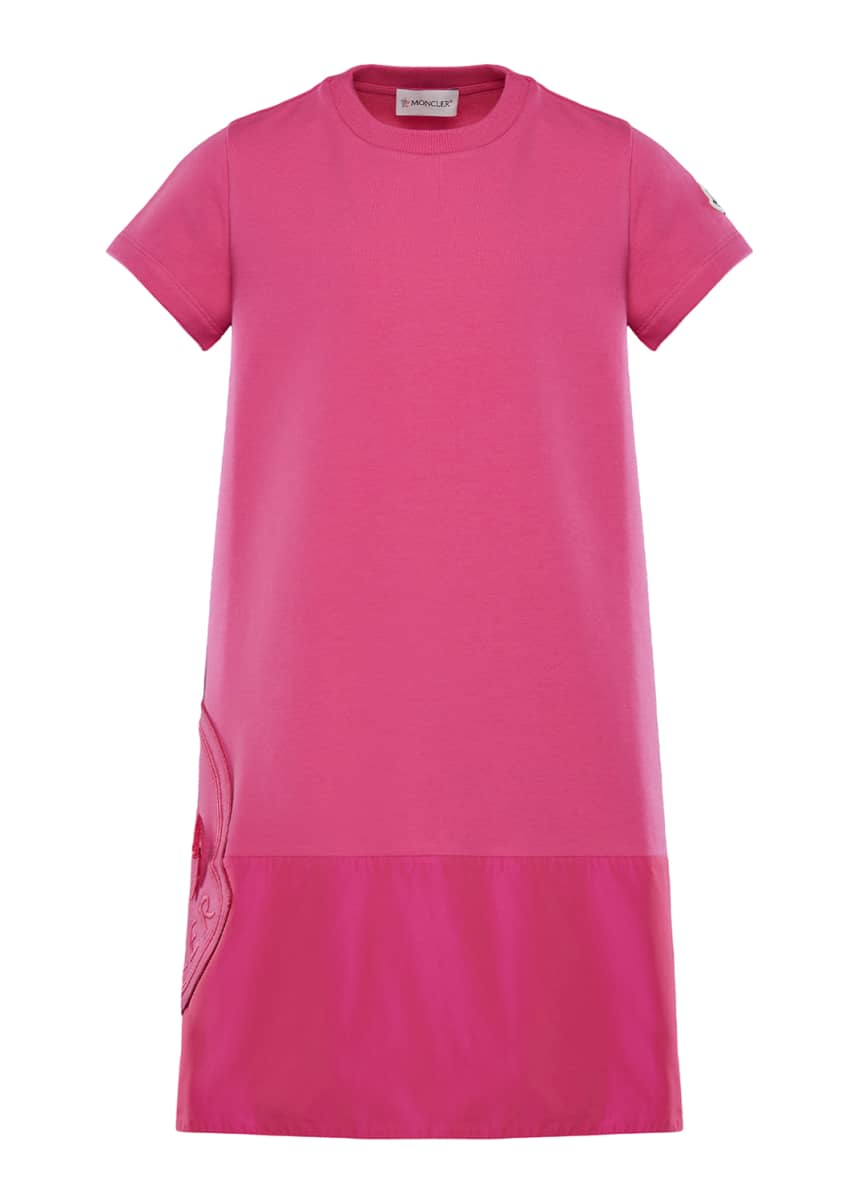Moncler Short-Sleeve A-Line Dress w/ Side Logo Embroidery, Size 8-14