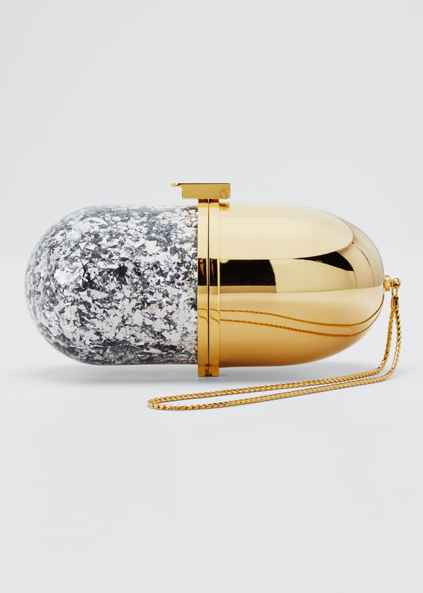 Marzook Golden and Glitter Minaudiere Pill Bag