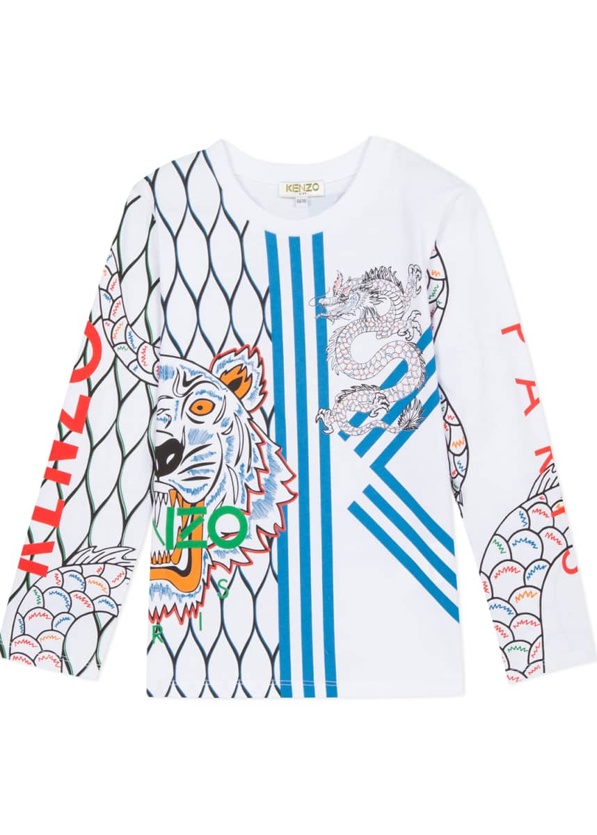 Kenzo Multi-Iconic Tiger & Dragon Graphic Tee, Size 2-6