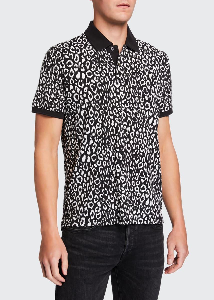 Ovadia Men's Leopard-Pattern Pique Polo Shirt