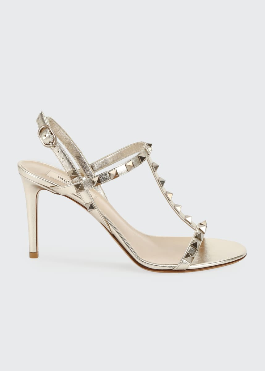 Valentino Garavani Rockstud Metallic T-Strap Sandals