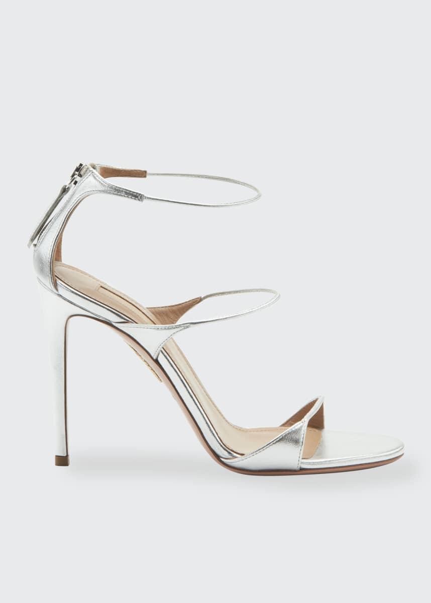 Aquazzura Minute Metallic High Sandals